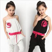 Hot sale fashion girl summer overalls capris baby girl jumpsuits&romper flowers kids girl suspender loose children dress pants