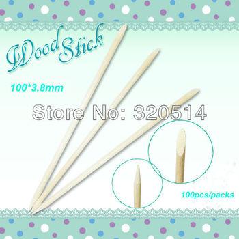 Free Ship 100pcs 100*3.8mm Orange Wood Stick Nail Art Cuticle Pusherx2Ways Pedicure Remover Cuticle Manicure Nail Art Care Tools