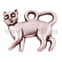 Closeout Tibetan Silver Pendants,  Cat,  Lead Free,  Cadmium Free and Nickel Free,  Red Copper Color,  about 14.5mm long