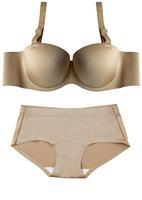 Free shipping solid one-piece design seamless underwear 1/2cup Bra and Brief set wedding dress Bra[Deareasy factory store]