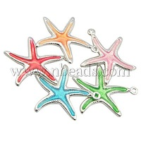 Most Wanted Findings Brass Enamel Pendants,  Starfish,  Silver Color,  Mixed Color,  21x22mm,  Hole: 1mm
