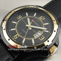 2013 BRAND NEW FASHION DESIGNER QUARTZ HOUR DIAL DAY DATE GOLDEN CLOCK SPORT MEN LEATHER STEEL WRIST WATCH FREE SHIPPING