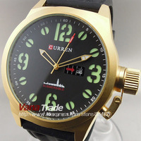 2013 NEW CURREN FASHION QUARTZ  WATCHES HOUR DIAL DAY DATE BLACK GOLDEN CLOCK SPORT MEN WRIST WATCH FREE SHIPPING