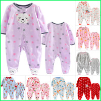 PROMOTION Original carter's fleece footed romper,baby boy & girl long sleeve Jumpsuit overall,newborn baby clothes,size 3M 6M 9M