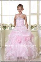 Hot sale zipper  Spoon neckline pallette / sequis Red Halter Style Beautiful Flower Girl   Dress  Size 2 4 6 8 12 14 16