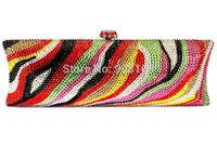 free shipping 2014 new clutch crystal bag women fashion luxury print clutch evening handbag B7195
