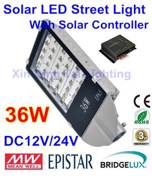 DC12V/24V 36W Solar  LED street light with Solar Controller PWM dimming, LED Lamps for solar lighting system