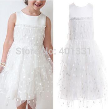 2015 New girls white beautiful Princess dress girls lace dress New Year's clothes dresses