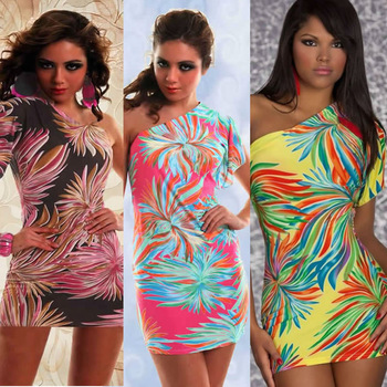 M XXL Plus Size 2013 New Fashion Women One Shoulder Flower Printed Sexy Clubwear Party Mini Dress 4136