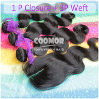 3PCS Virgin Brazilian Hair Body Wave With 1PCS Lace Top Closure 4PCS/lot Best Match ,DHL Free Shipping