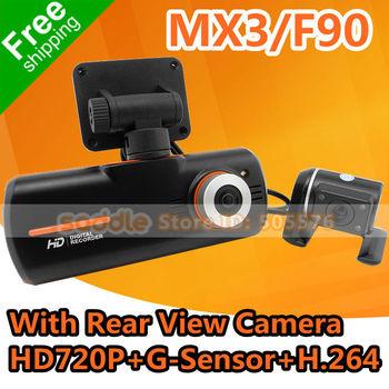 Car DVR F90 MX3 With IR Rear View Camera + HD 720P + G-Sensor + H.264 + HDMI + GPS Logger + FreeShipping