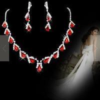 A003-2  Neckace earrings set Elegant Rhinestone Jewelry Set for Wedding Bride Party O-QXL005-10 wholesale