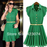 2013 summer new lapel single-breasted tunic dress Z483