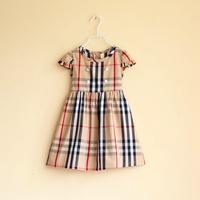 girls plaid dress with sash kids dresses girls fashion kids clothing 3T-10T  free shipping