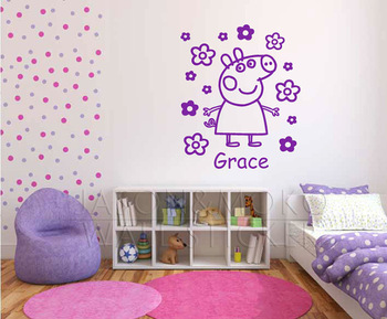 Large personalised Peppa Pig name wall sticker  flowers girls bedroom decal graphic  Art Decor  60*75CM  Free shipping