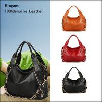 High Quality New 2014 Fashion Chain Rivet Real Genuine Leather Women Handbag Shoulder Messenger Bag Tote Black Red Blue Yellow