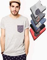 2014 New Arrive Modern Style Fake Pocket t shirts Color Pocket Men Short Sleeve Crew Neck T Shirt 6 Color T-shirts 1111 On Sale