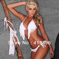 CL1032 Free Shipping Solid White Bikini Triangle Sexy Fringe Swimwear
