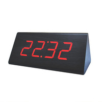 New Modern Wood clocks,Wooden unique big numbers Digital LED Calendar Thermometer Voice Alarm desk Clock