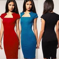 Red,Blue,Black,New Fashion Summer back split cap sleeve solid Women Bodycon Stretch Pencil Dress Size S,M,L,XL