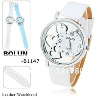 Hot Sale Heart Pattern Skeleton Watch White Leather Watch Silver Case Wristwatch for Women Bolun Fashion Ladies Quartz Watch