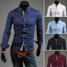 Chegada nova com frete grátis camisas número de rastreamento dos homens Slim Fit Vestido elegante 2013 tamanho longo da luva M- XXL 9007(China (Mainland))