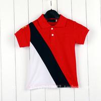 1 piece free shipping Boy summer Tshirt short-sleeve turn-down collar cotton casual top tee High quaility