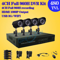 Home CCTV Security Camera System 4CH DVR 480TVL Outdoor Day Night Camera DIY Kit Color Video Surveillance System,free shipping
