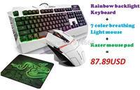Gaming Keyboard FlashGet Rainbow LED Backlight+Gaming Mouse 7color Breathing Light +Razer Gaming Mouse Pad Large Dota 2