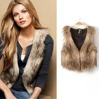 Plus Size Autumn & Winter Women's plush faux fur vest short Style V-collar False Fur Vest Free Shipping