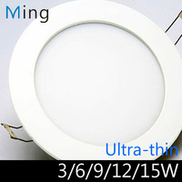 Ultra thin design 3W / 6W / 9W / 12W / 15W LED ceiling recessed grid downlight / slim round panel light  free shipping