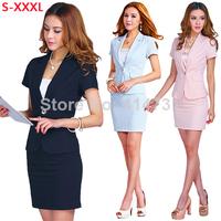 Hot Sale Women Formal Work Wear 2014 Summer New Fashion Professional Suit Blazer Skirt Female Career Business Dress Clothing Set