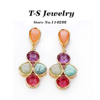 2014 Brincos Grandes Shipping New Arrival Sweet Candy Acrylic Multi- Color Drop Earring for Fashion Exaggerate Earrings Jewelry
