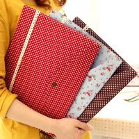 Ann Pastoral Floral Mori Cloth Bag A4 File Folder Korea School Supplies Stationery Cute Kawaii