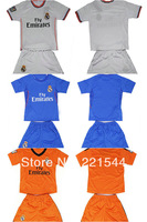 13-14 Real Madrid Orange kids soccer football jersey + shorts kits BALE Ronaldo best quality children soccer Uniforms
