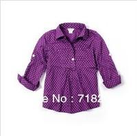 2013 new spring girls 100%cotton polka dot blouses polka dot girls shirts blouses for girls childrens clothing 3 color
