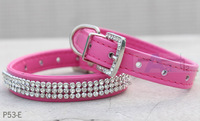 Free shipping Brand New Bling Full Rhinestone Dog Collars Pet PU Leather Cat Puppy Collars Rose Red P53-E