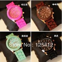 20pcs/lot 2012 New Fashion Geneva Sports quartz wrist Watch men women students wristWatch 14 colors Free shipping
