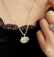 Free shipping HELLO KITTY Necklace Cat Necklace Rhinestone Bow kt Necklace HELLO KITTY Jewelry Wholesale,48pcs/lot,NC067