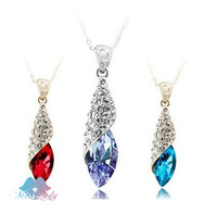 18K Gold Plated Austrian Crystal design Water Drop Tear Necklaces & Pendants 2013 women Jewelry 4156