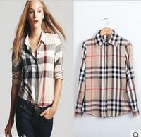 Free shipping Women shirt  turn down collar plaid design British style new 2013 large size brand clothing set tops