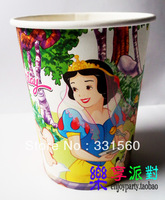 Free shipping,Hot on sale ,9 oz wholesale/bulk party pape cup ,party favor for kids,snow white theme,all factory direct sales
