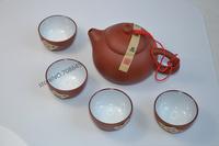 yixing Purple sand tea set,1 tea pot +4 tea cups+1 gift box for a exquisite present  clay tea service Free shipping!!