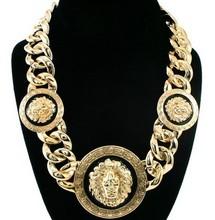 Gratis verzending vrouwen gouden/zwart drie leeuwenkop dikke ketting statement ketting rihanna celebrity sieraden