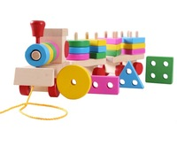 Free Shipping!!Baby Toys Wooden Toys  Wooden Stacking Train Blocks Kids Education Toy Building Blocks Wholesale Price