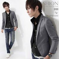 Korean new mens cotton blazer casual style slim fit wine red and navy color jacket School uniform vintage sport coat Free Ship