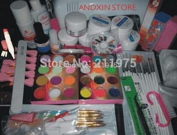 2014 Jumbo Nail Art Manicure Decoration 9W UV white dryer lamp 30 color Acrylic Powder Nail Art Kit gel tools Set