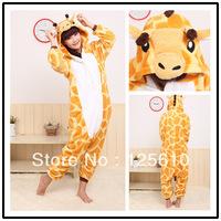pjs sale flannel cartoon one piece sleepwear lovers winter thickening animal cute giraffe pajama unisex pyjamas by0003 Giraffe
