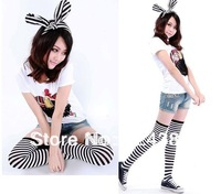 hot trend 2styles cute Striped knitted Ringer woman stockings Over The Knee highs zebra striped hold ups  2pairs/lot