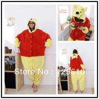 Cute Pyjamas plus size wear boys sleepwear Coral fleece stitch cartoon animal sleepwears play Costume unisex by0019 Winnie pjs
